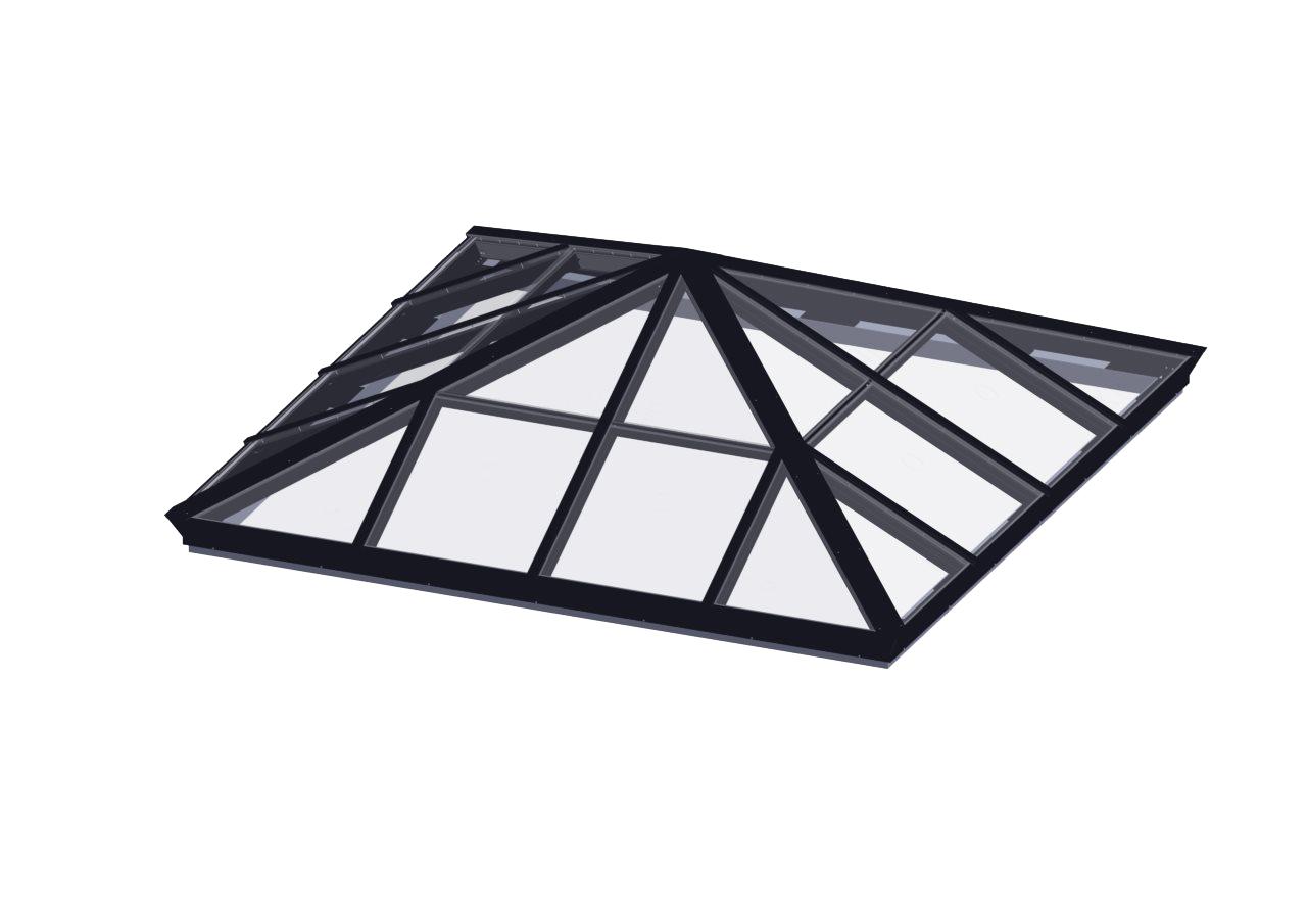 Glass Glazed Pyramid Skylight Flat Roof Glass Skylights