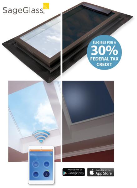 SageGlass electronically tintable skylights