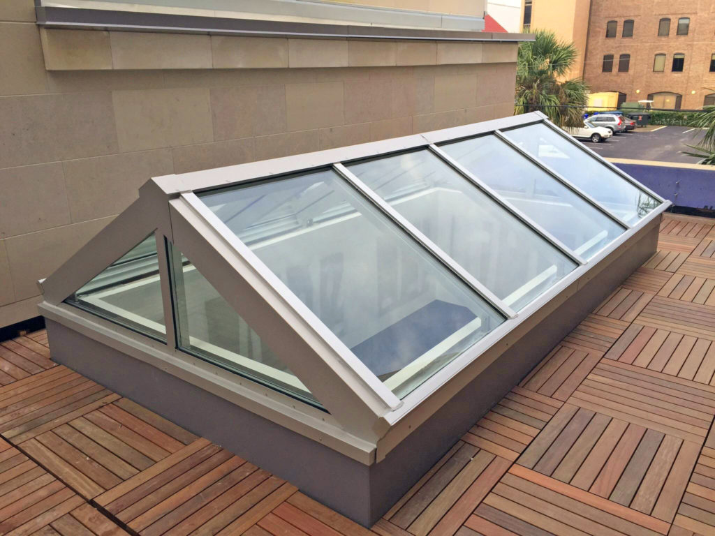 """Pinnacle 350 Hurricane Extended Pyramid, 14' x 7'6"""", 7/12 Pitch. Glazing: 1-5/16"""" IG Clear Tempered over Clear HS Laminated with .090 SGP Interlayer. Finish: Clear Anodize"""