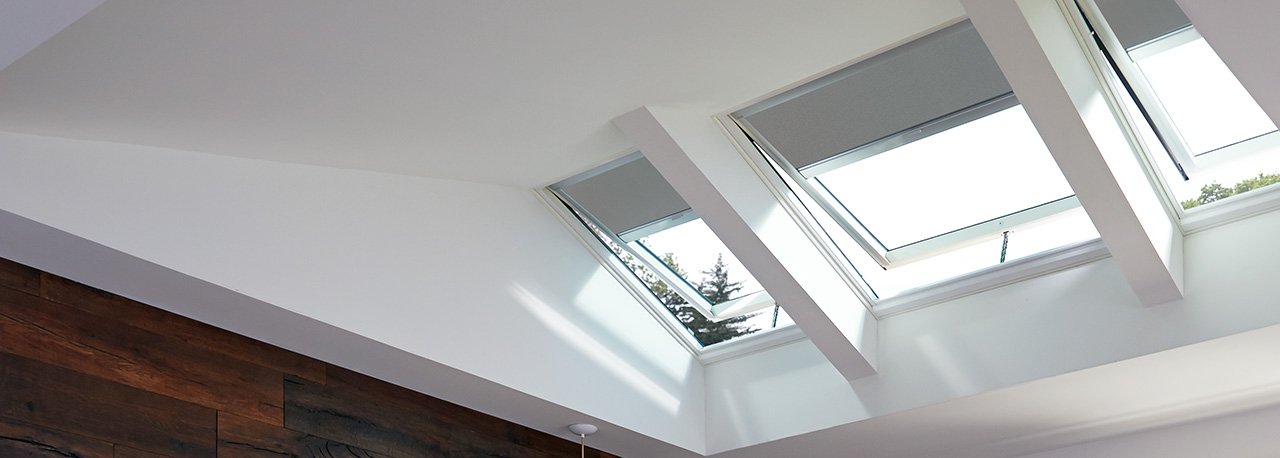 View of venting skylights with blinds