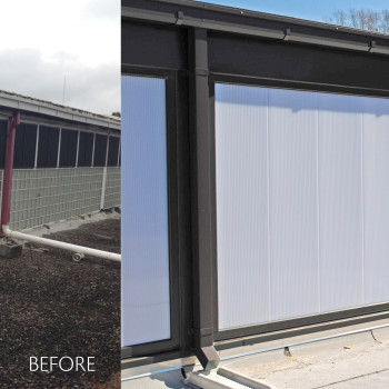 Before and After - LumiWall 40mm Vertical Translucent Polycarbonate