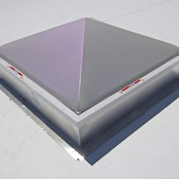 "8 Custom Model ECA 48"" x 48"" with 9"" high insulated curbs. Finish: Baked Enamel Bone White on retainers only"
