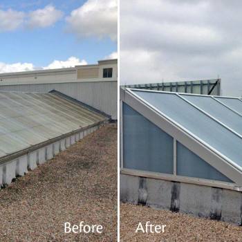 Before and After - Retrofit of Fiberglass - Pinnacle 350 Double Pitch, 25mm Opal IR Polycarbonate