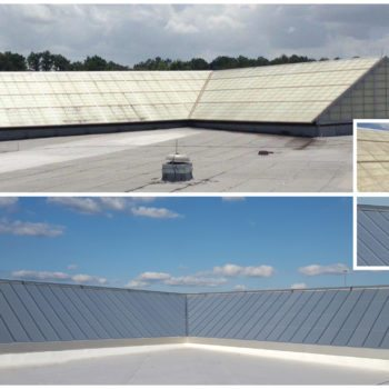 Horizon Intersecting Ridges, (4) 34' x 25', 8/12 Pitch. Glazing: 20mm Opal IR Standing Seam Multiwall Polycarbonate Skin System, FRP Replacement. Finish: Clear Anodize.