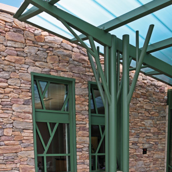 Standing Seam Canopy Skin System, 20mm Green polycarbonate