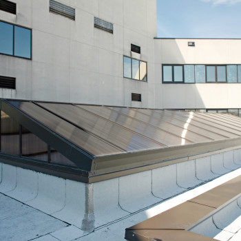North Fulton Hospital Exterior - Double Pitch with 25mm Bronze Polycarbonate