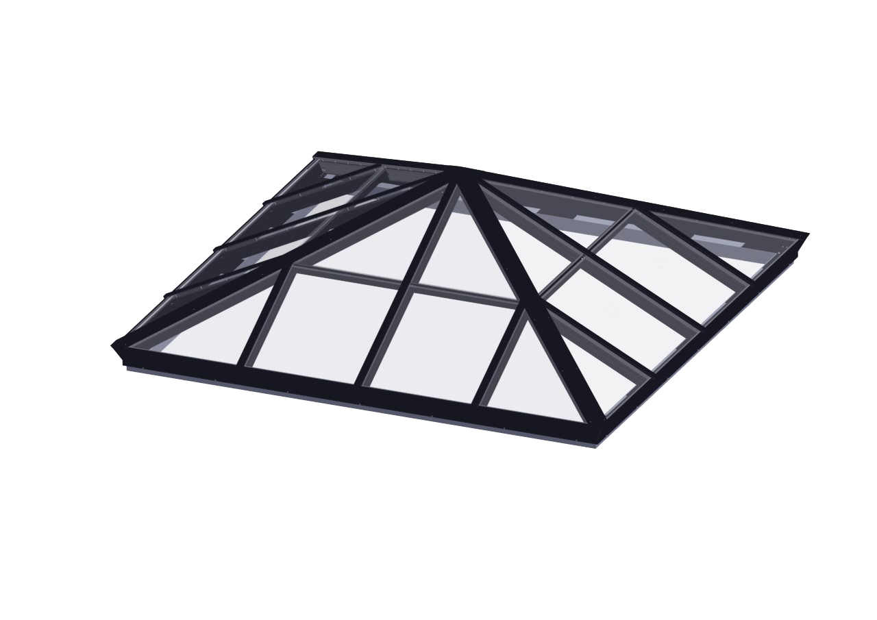 Glass Glazed Pyramid Skylight Flat Roof Glass Skylights