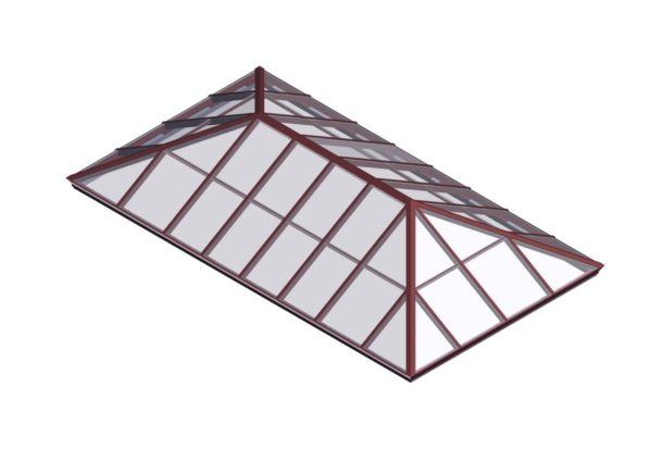glass extended pyramid brick red color option