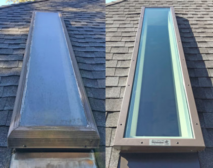 Before and after replacement skylight