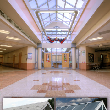 Before and After View of Elementary School Skylights