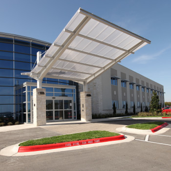 Medical Village Exterior - Standing Seam Horizon Multiwall Polycarbonate, 20mm Clear IR