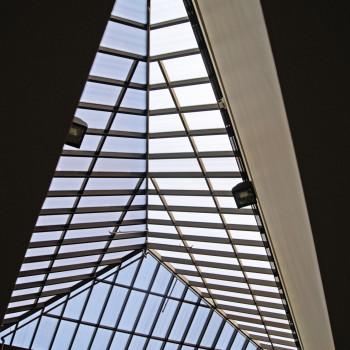 University of Minnesota School of Business - Reglaze of Triangular Pyramid, 25mm bronze polycarbonate with Lumira Aerogel